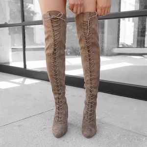 BRAND NEW suede thigh high boots ~ gold trim heels